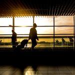 Imagem de passageiros andando por um aeroporto, no por do sol, para ilustrar artigo sobre gestão de viagens corporativas, através da gamificação que o The Saving Game oferece.